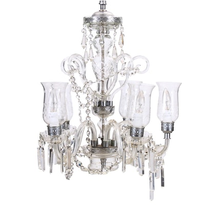Five-Arm Crystal and Glass Chandelier, Mid-20th Century