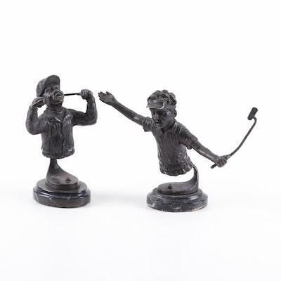 Bronzed Metal Sculptures of Golfers