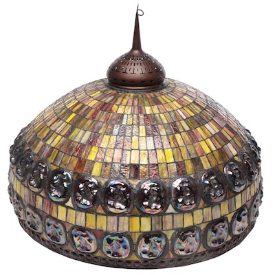 Tiffany Style Turtle-Back Stained Glass Shade, Contemporary
