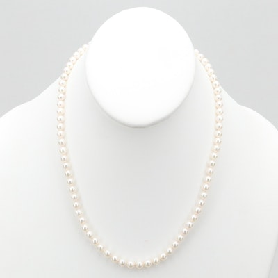Mikimoto Cultured Akoya Pearl Necklace with 18K Yellow Gold Clasp