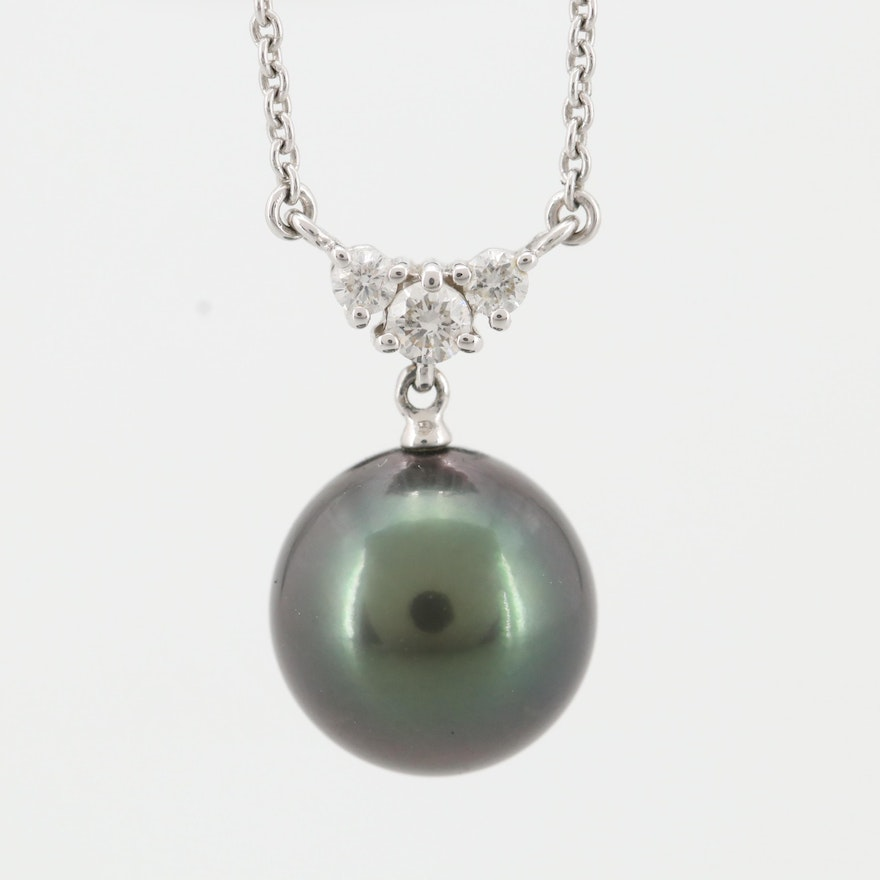Blue Lagoon by Mikimoto 14K White Gold Cultured Pearl and Diamond Necklace