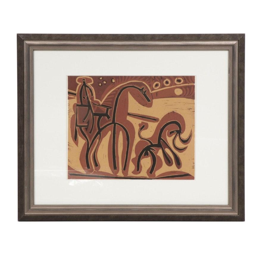 "Pablo Picasso Linoleum Cut ""Picador and Bull"""