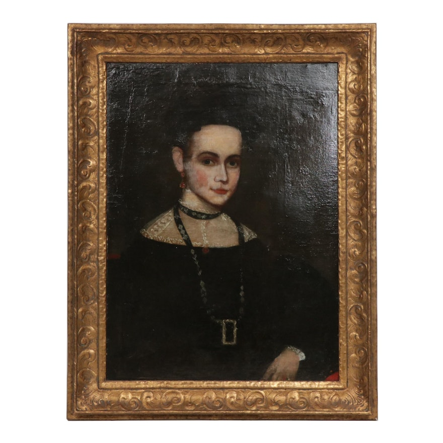 European School Style Portrait of Woman Oil Painting