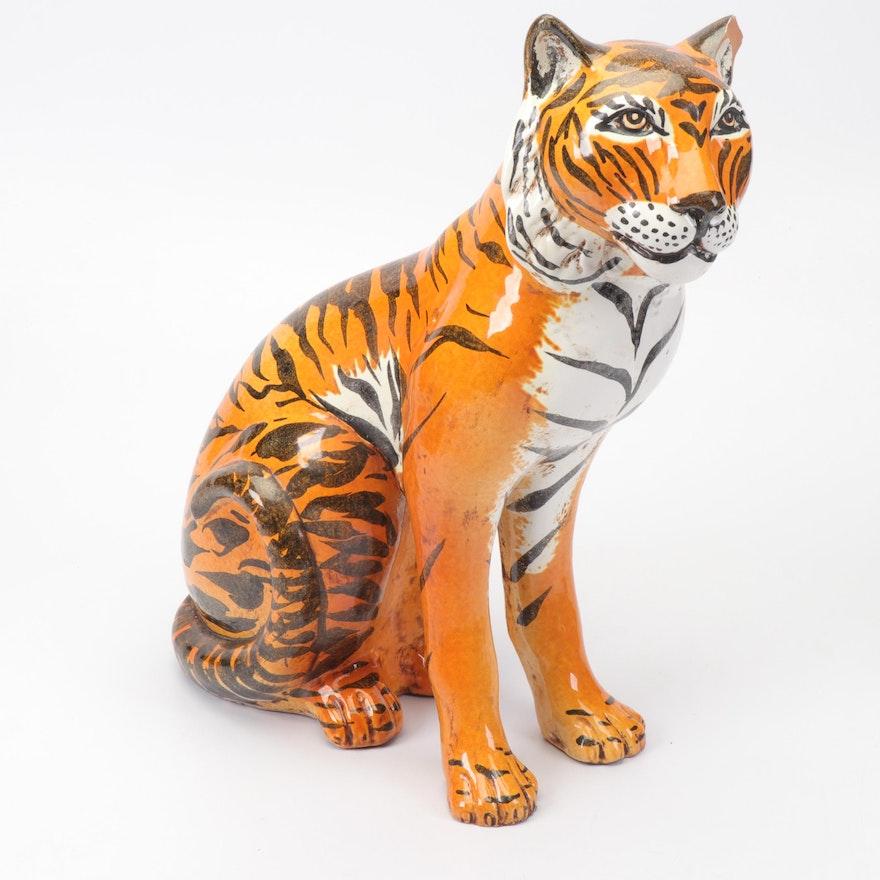 Large Italian Hand Painted Ceramic Tiger Statue, Vintage