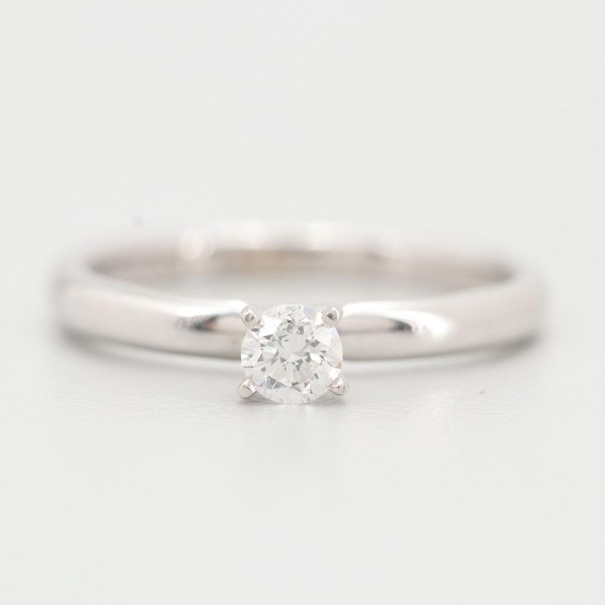 Gordon's Platinum and 14K White Gold Diamond Solitaire Ring