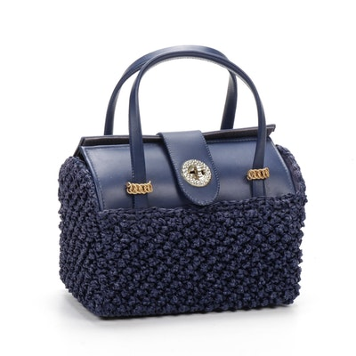 Women's Blue Faux Leather and Woven Raffia Handbag, Vintage