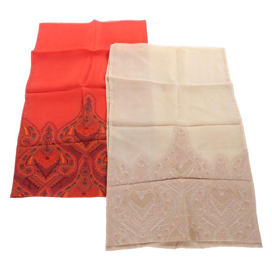 "Joan & David Tan and Coral ""Taj"" Embroidered Silk Shawls"