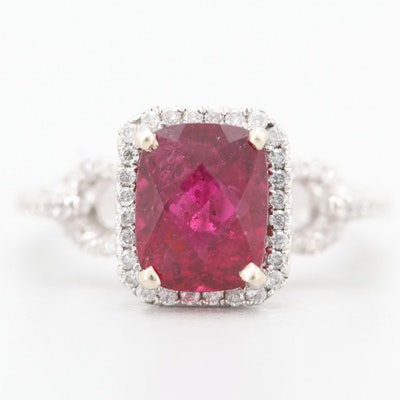 14K White Gold 2.65 CT Rubellite and Diamond Ring