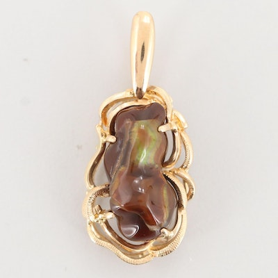 14K Yellow Gold Fire Agate Pendant