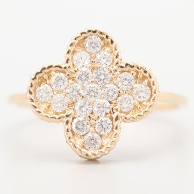 14K Yellow Gold Diamond Quatrefoil Ring
