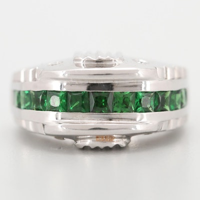 18K White Gold 1.50 CTW Tsavorite Garnet and Diamond Ring