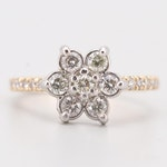 Guild 14K White and Yellow Gold 1.00 CTW Diamond Flower Ring