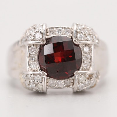 14K White Gold 2.20 CT Garnet and Diamond Ring