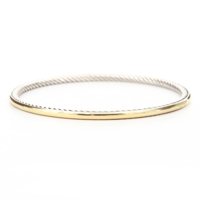 "David Yurman ""Cable Inside"" Sterling Silver and 18K Yellow Gold Bangle Bracelet"