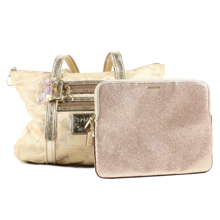 Coach Lurex Poppy Tote Bag and Gold Glitter Tablet Sleeve