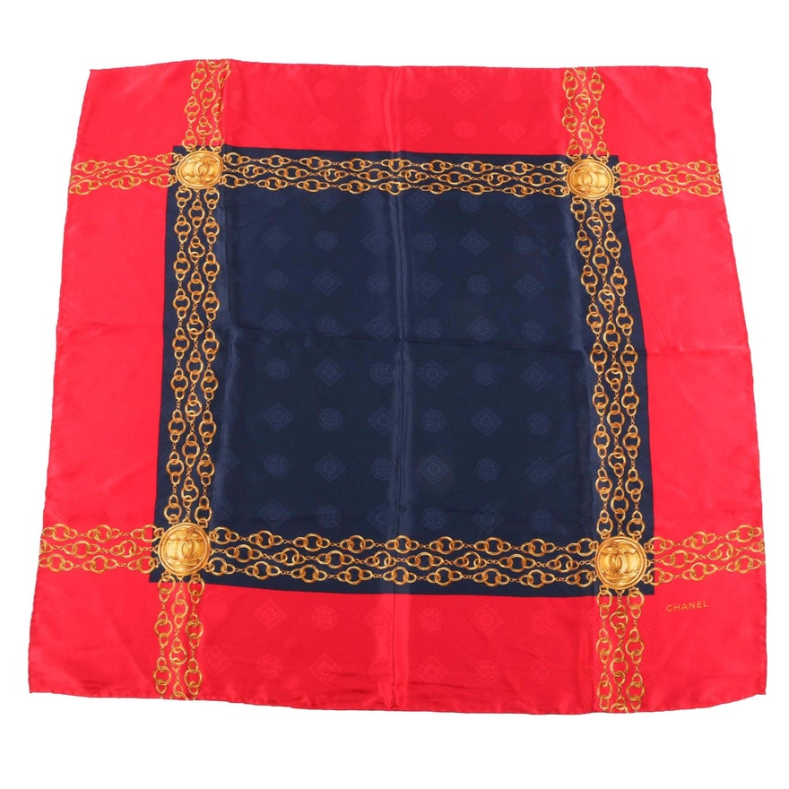Chanel Red and Navy Silk Jacquard Chain Print Scarf