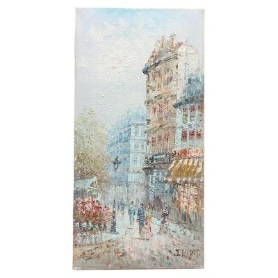 J. Bardot Oil Painting of Parisian Street Scene