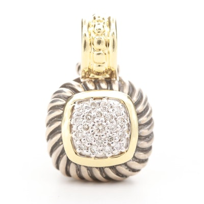 David Yurman Sterling Diamond Enhancer Pendant with 18K Yellow Gold Accents