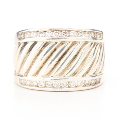 "David Yurman ""Cigar Band"" Sterling Silver Diamond Ring"