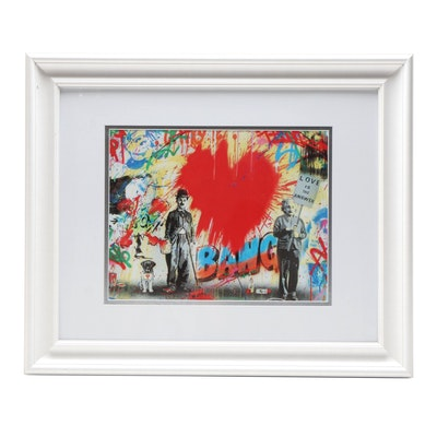 "Giclée After Mr. Brainwash ""Juxtapose Red Heart"""