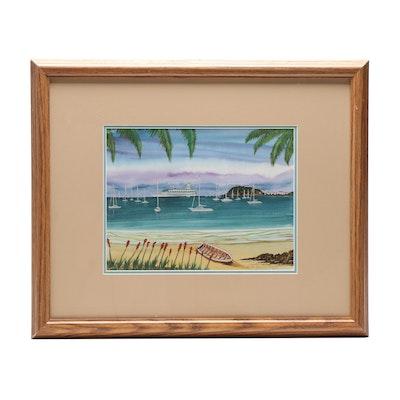 """Reginald Andrews 1995 Watercolor Painting """"St. Maarten"""""""