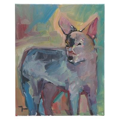 "Jose Trujillo Oil Painting ""Coyote"""