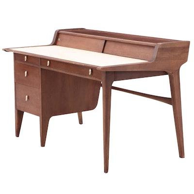 """Drexel by John Van Koert Mid Century Modern Walnut """"Profile"""" Desk"""