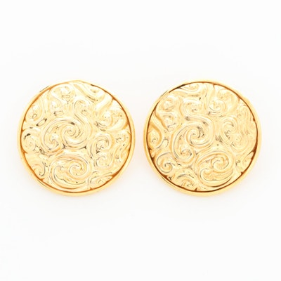 14K Yellow Gold Repoussé Earrings