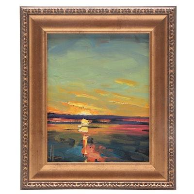 William Hawkins Oil Painting of Sunset