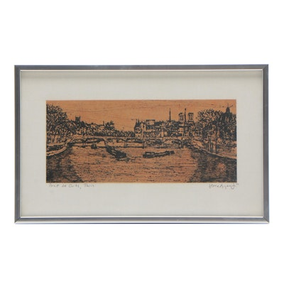 "1972 Relief Print ""Pont de Arts, Paris"""