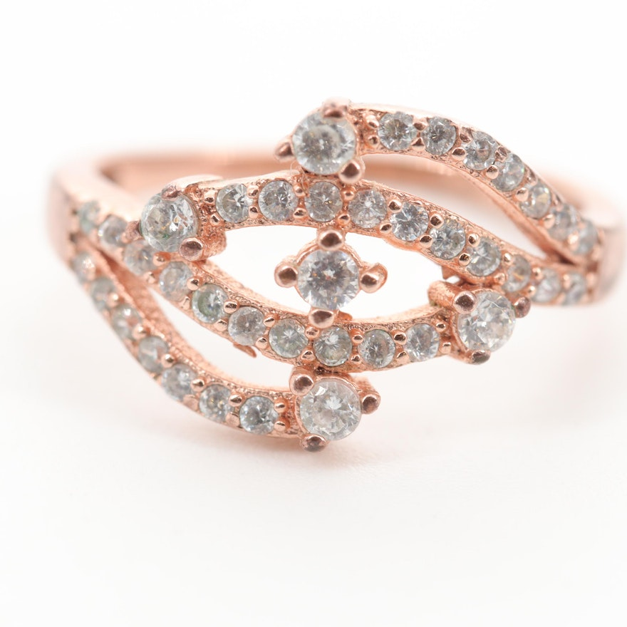Rose Wash on Sterling Silver Cubic Zirconia Ring