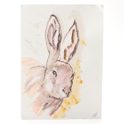 D. Coleman Bunny Portrait Watercolor Painting