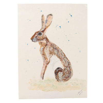 D. Coleman Seated Hare Watercolor Painting