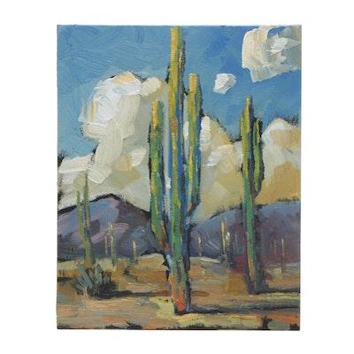 William Hawkins Oil Painting of Desert Landscape