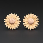 10K Yellow and Rose Gold Daisy Earrings