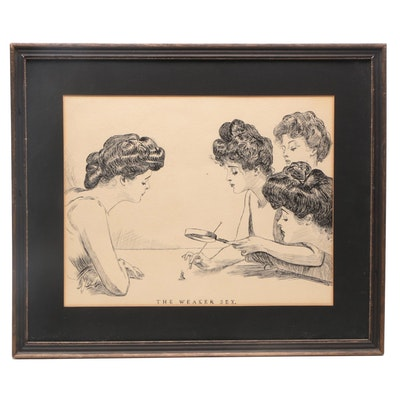 "Lithograph after Charles Dana Gibson ""The Weaker Sex"""