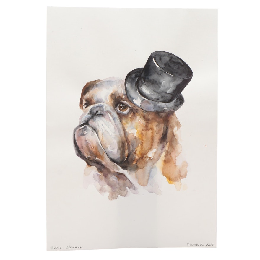 Oksana Belonozhko Bull Dog in Top Hat Watercolor Painting
