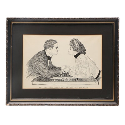 "Lithograph after Charles Dana Gibson ""The Greatest Game In The World - His Move"""