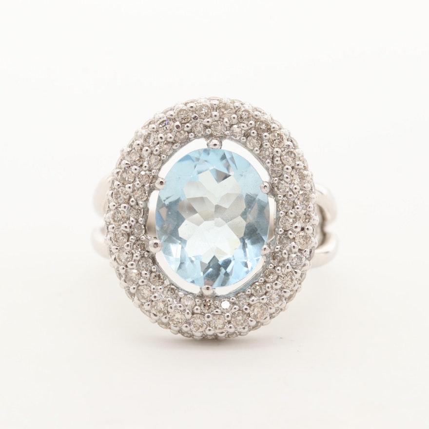 14K White Gold 3.43 CT Aquamarine and Diamond Pavé Halo Ring