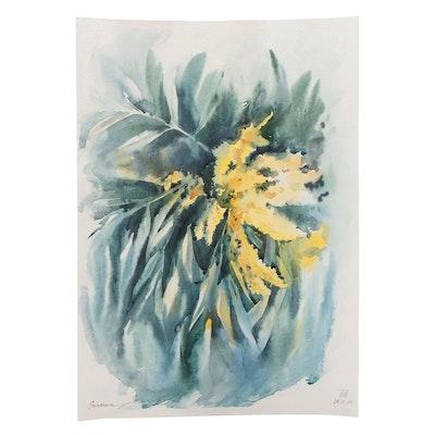 Anastasiya Serdnova Yellow Floral Watercolor Painting
