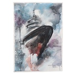 Lebed Marina Foggy Boat Watercolor Painting