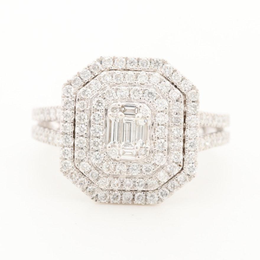 14K White Gold 1.05 CTW Diamond Triple Halo Ring