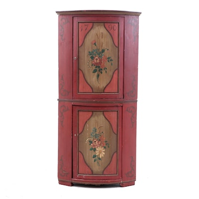 Northern European Painted Corner Cabinet, Late 18th Century