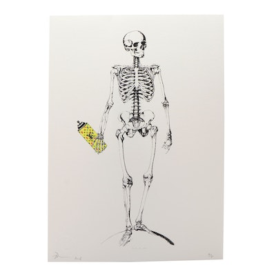Death NYC Spray Paint and Skeleton Offset Lithograph