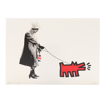 Death NYC Queen Walking Keith Haring Dog Offset Lithograph