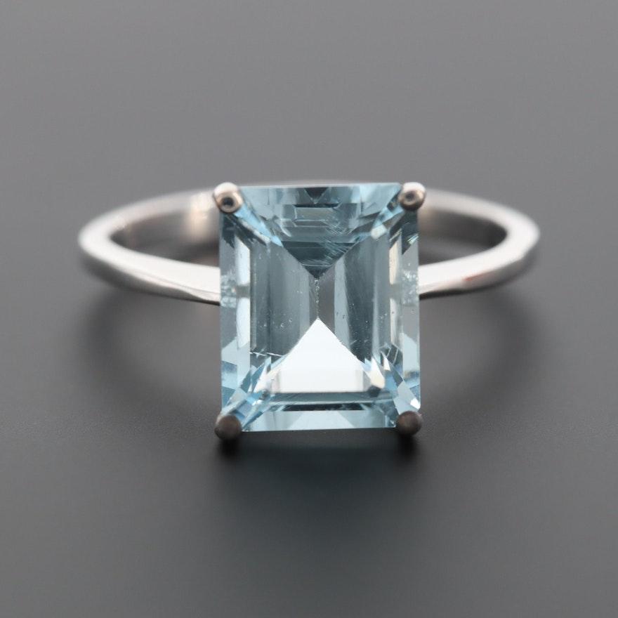 14K White Gold 3.29 CT Aquamarine Ring