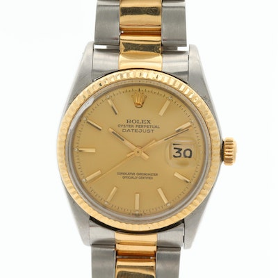 Vintage Rolex Datejust 18K Gold and Stainless Steel Wristwatch, 1975