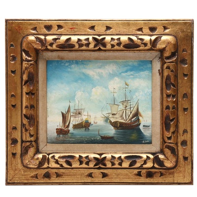 Sailing Fleet Oil Painting