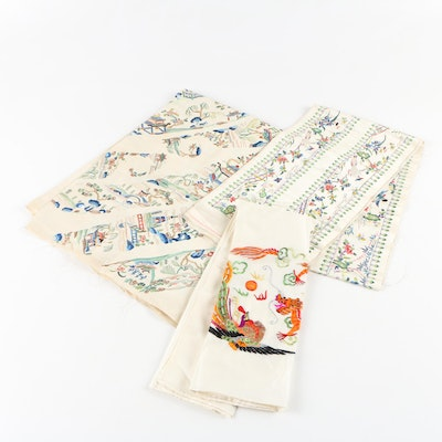 Chinese Hand Embroidered Silk Panels and Scarf, Vintage