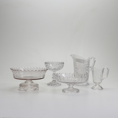 Pressed Glass Pitchers, Compotes and Serving Bowls